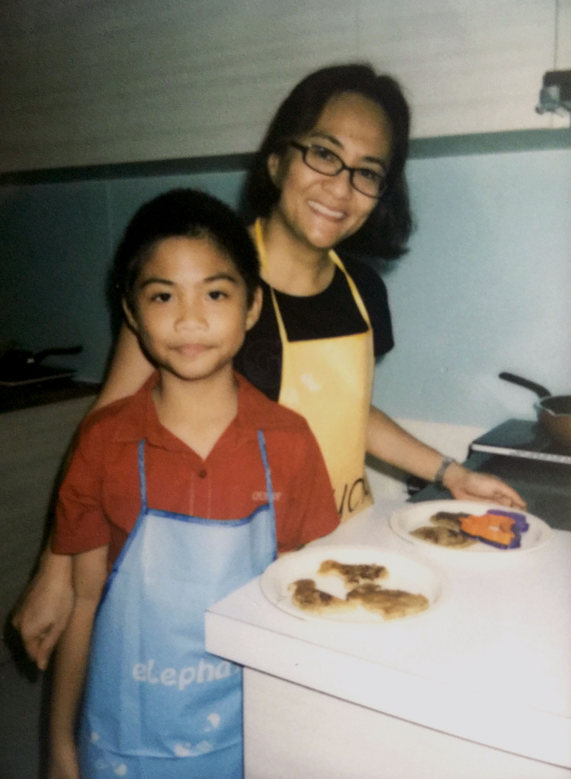 Joren and her son at a NutriWerkz cooking class, which is a great experience for both parent and child.
