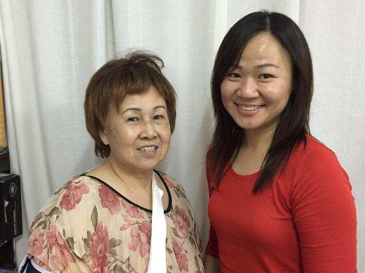 Careseeker Madam Serene Kwek looking radiant and upbeat, with CGA's Elaine Tan