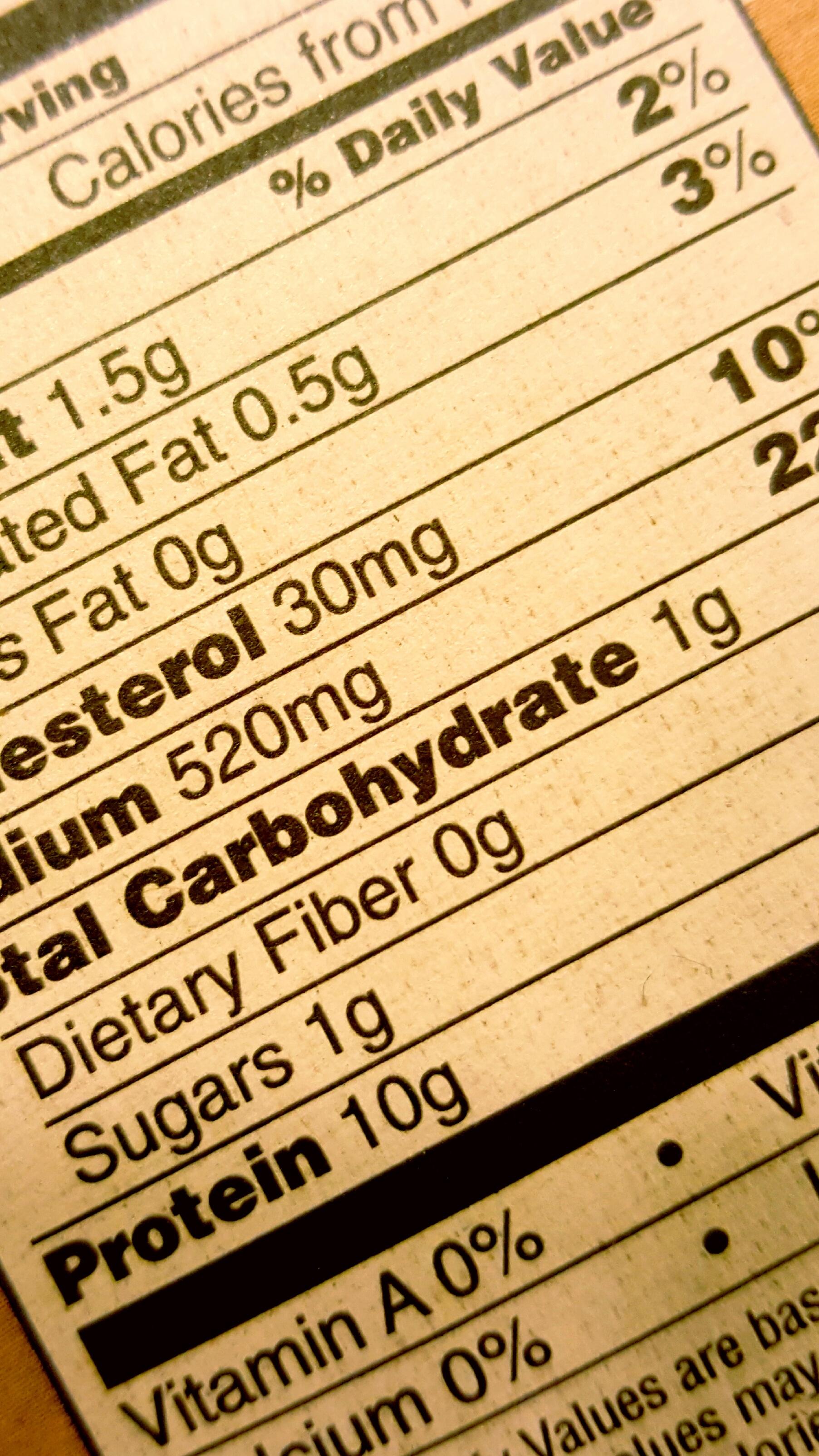 Food Ingredient Nutrition Label